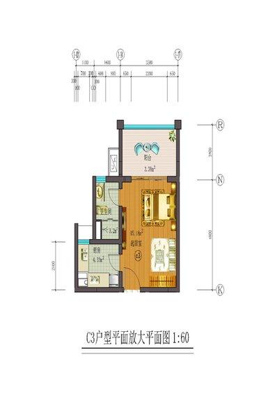 藏龙福地1室1厅1卫1厨 (建筑面积:40.00㎡)