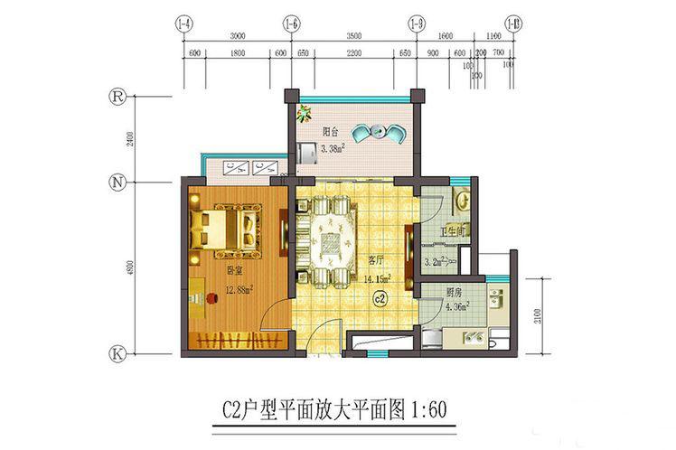 藏龙福地1室1厅1卫1厨 (建筑面积:57.00㎡)