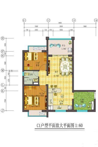 藏龙福地2室2厅1卫1厨 (建筑面积:79.00㎡)