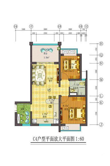 藏龙福地2室2厅1卫1厨 (建筑面积:76.00㎡)