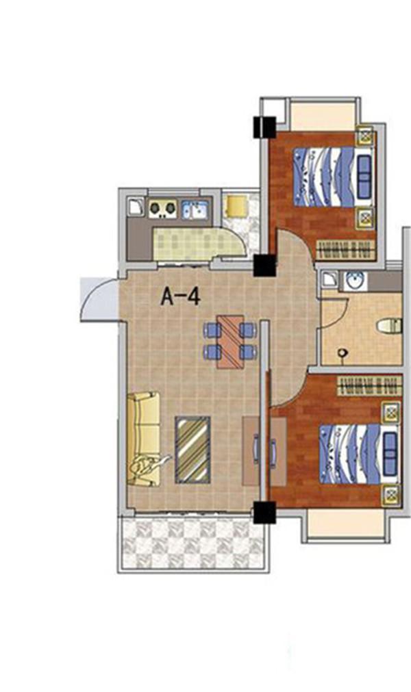 天长椰风水韵2室2厅1卫1厨1阳台 (建筑面积:73.00㎡)