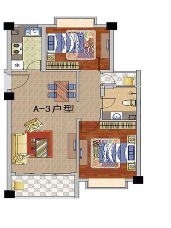 天长椰风水韵2室2厅1卫1厨1阳台 (建筑面积:63.00㎡)