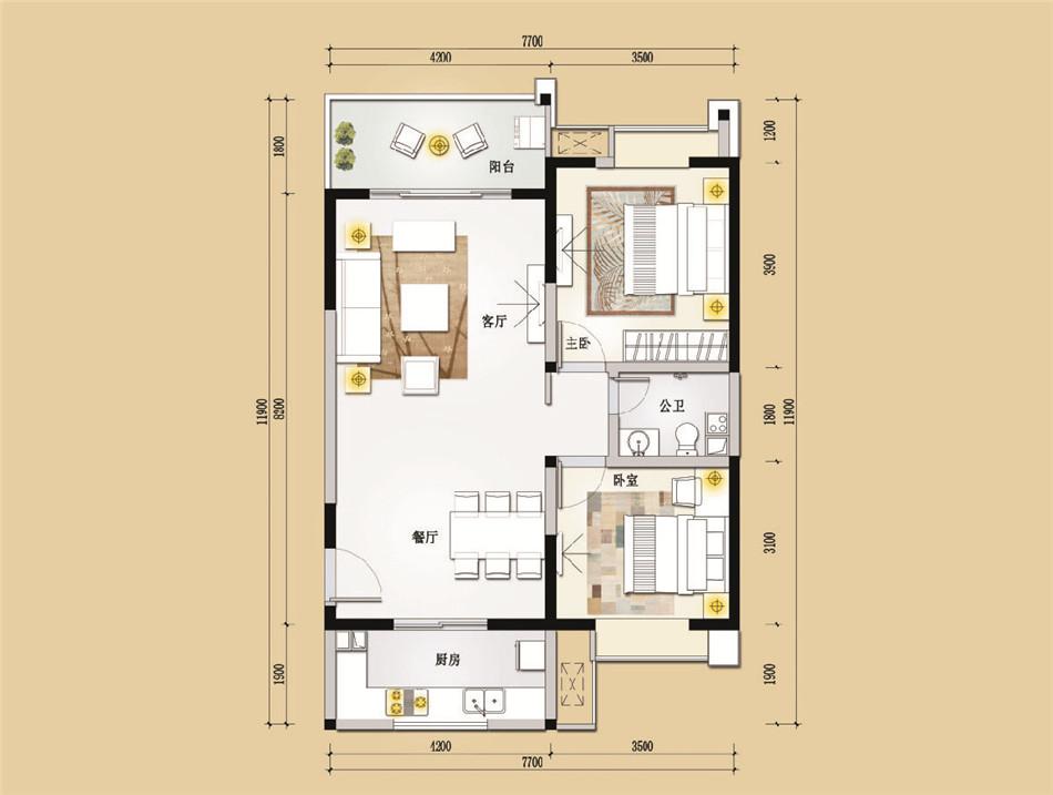 三亚景园城2室2厅1卫1厨