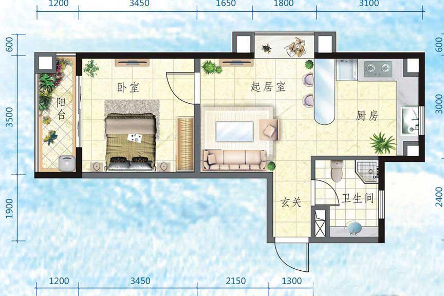 万宁国瑞城1室2厅1卫1厨 (建筑面积:51.00㎡)