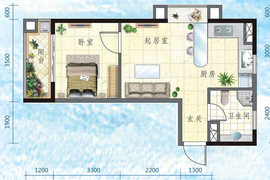万宁国瑞城1室2厅1卫1厨 (建筑面积:47.00㎡)