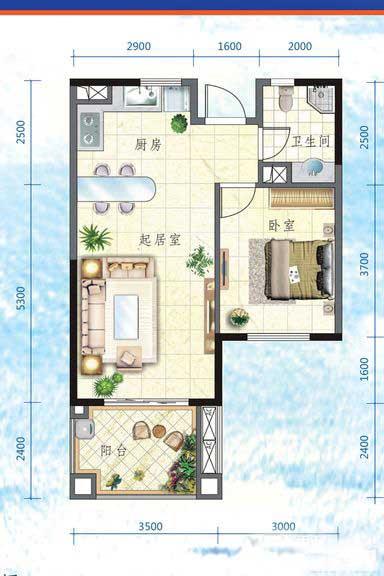 万宁国瑞城1室2厅1卫1厨 (建筑面积:57.00㎡)
