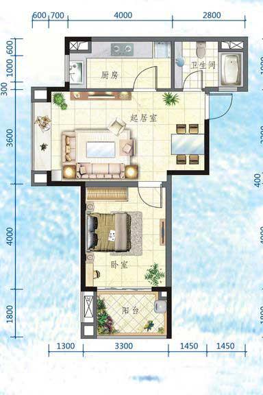 万宁国瑞城1室2厅1卫1厨 (建筑面积:59.00㎡)