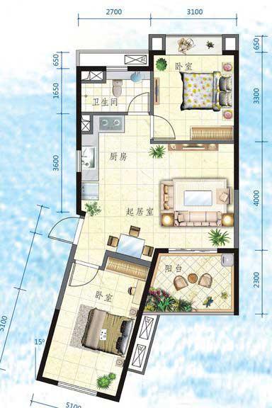 万宁国瑞城2室2厅1卫1厨 (建筑面积:73.00㎡)