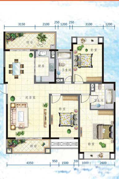 万宁国瑞城3室2厅2卫1厨 (建筑面积:131.00㎡)