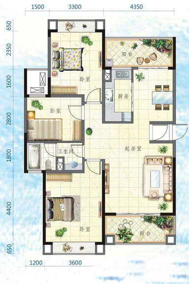 万宁国瑞城3室2厅1卫1厨 (建筑面积:116.00㎡)