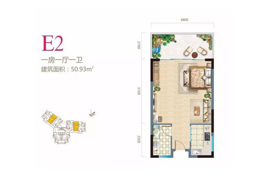 长岛蓝湾1室1厅1卫 (建筑面积:50.93㎡)