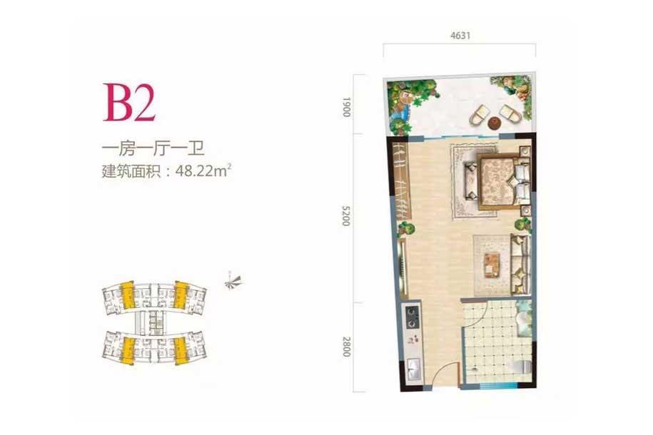 长岛蓝湾1室1厅1卫 (建筑面积:48.22㎡)