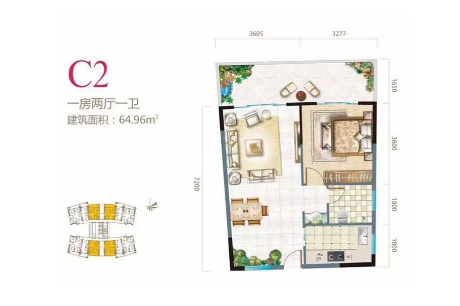 长岛蓝湾1室2厅1卫 (建筑面积:64.96㎡)