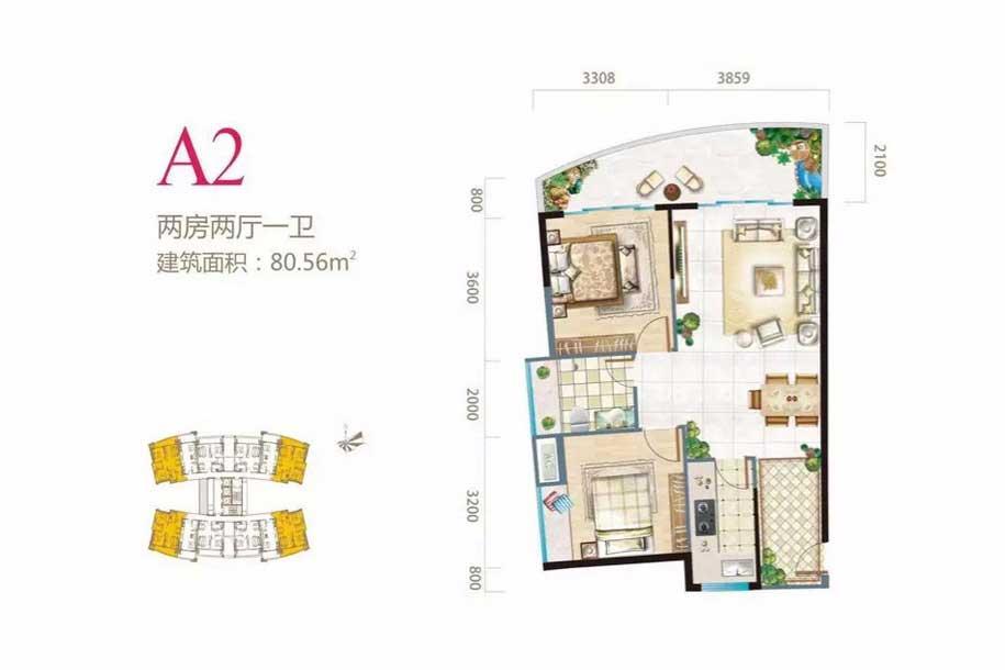长岛蓝湾2室2厅1卫 (建筑面积:80.56㎡)