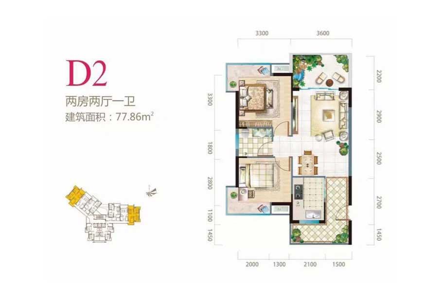 长岛蓝湾2室2厅1卫 (建筑面积:77.86㎡)