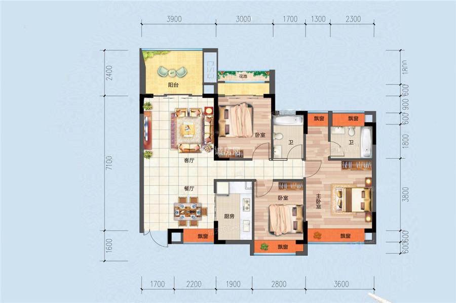 合隆华府3室2厅2卫1厨 (建筑面积:108.00㎡)