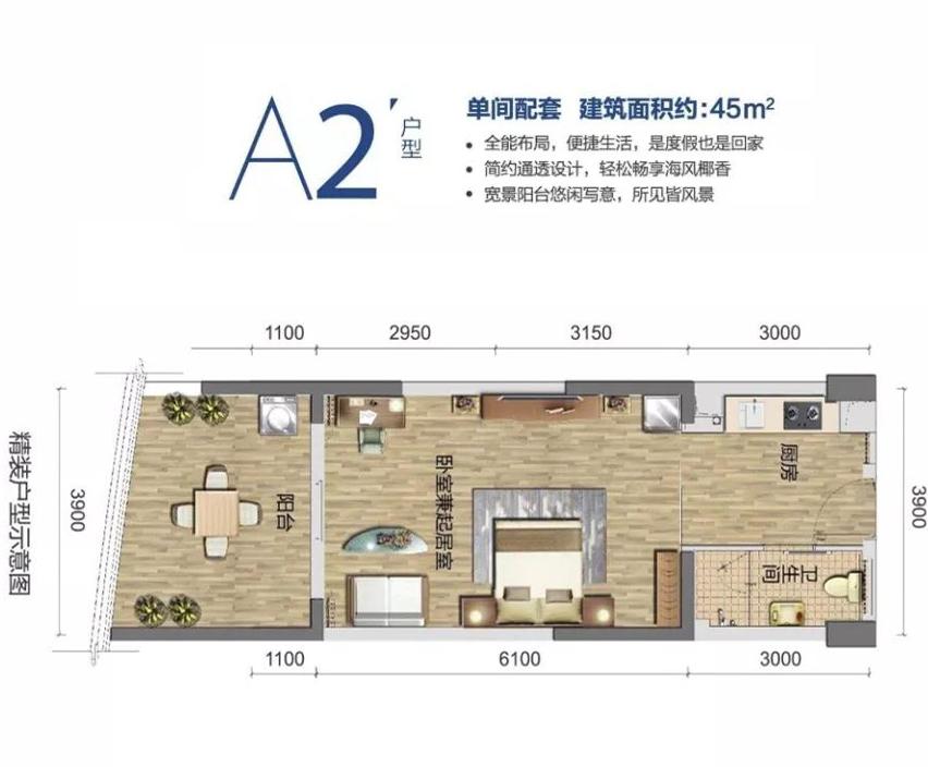清澜半岛单间 (建筑面积:45.00㎡)