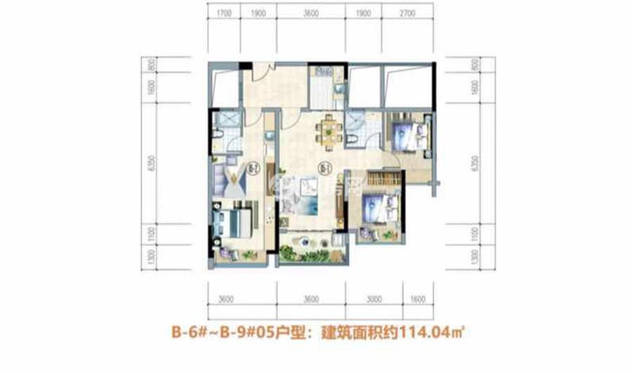 富力悦海湾3房2厅2卫 (建筑面积:114.04㎡)