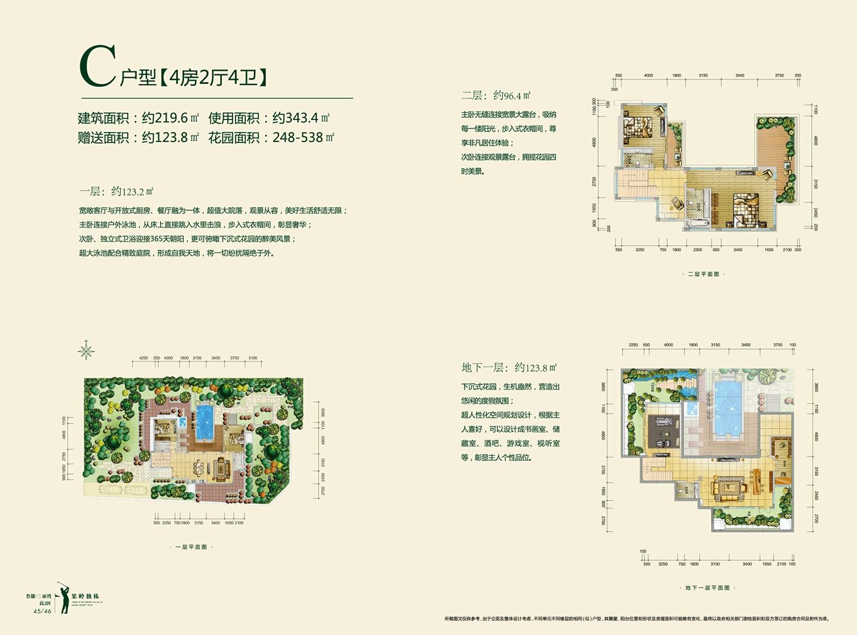 鲁能三亚湾4房2厅4卫 (建筑面积:219.60㎡)