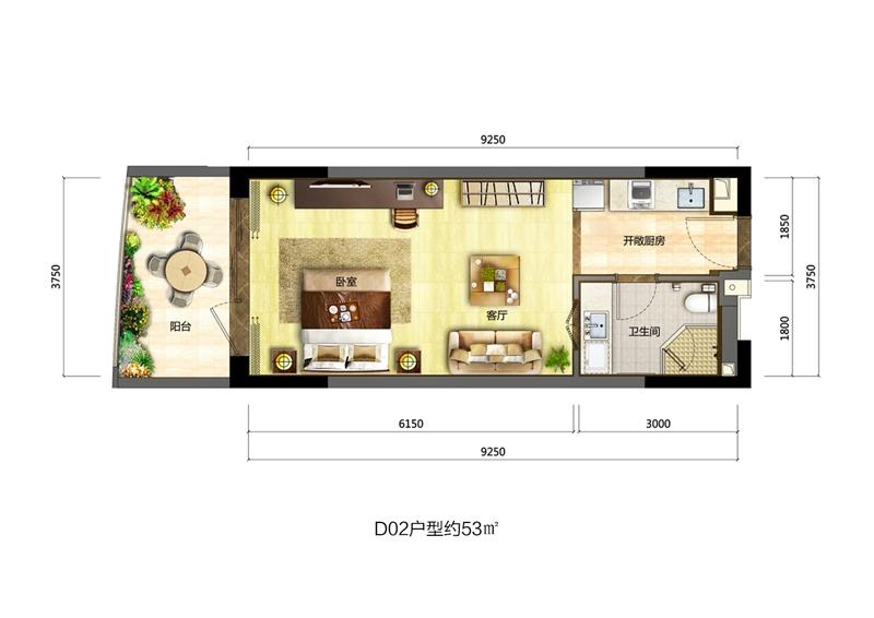 博鳌海御1室1厅1卫1厨