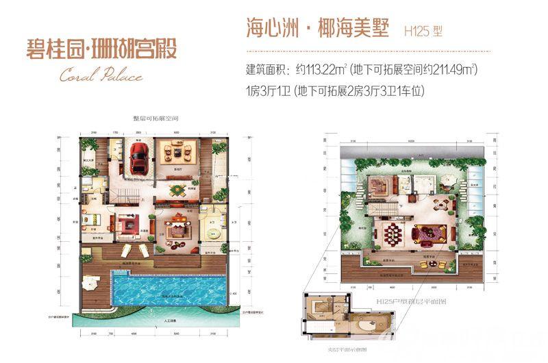 碧桂园珊瑚宫殿1房3厅1卫