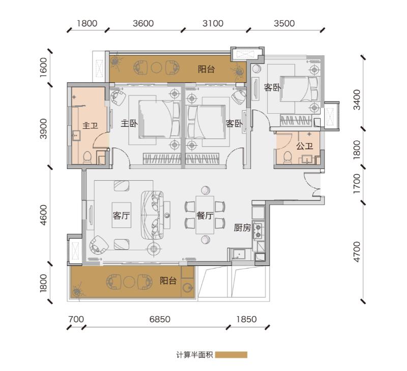 鲁能三亚湾3房2厅2卫 (建筑面积:125.00㎡)