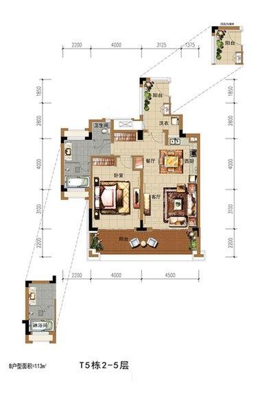 中海神州半岛1房2厅1卫 (建筑面积:113.00㎡)