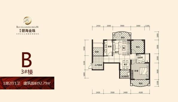 碧海金珠1房2厅1卫 (建筑面积:92.79㎡)
