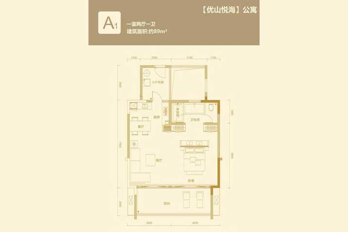 华润石梅湾九里1室2厅1卫 (建筑面积:89.00㎡)