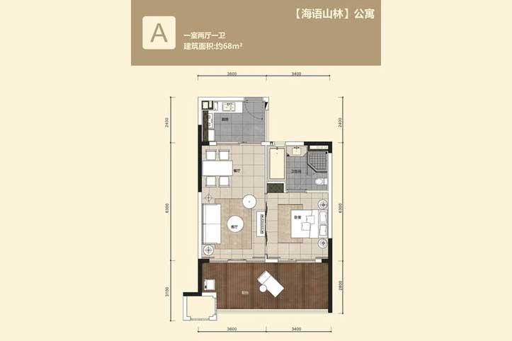 华润石梅湾九里1室2厅1卫 (建筑面积:68.00㎡)