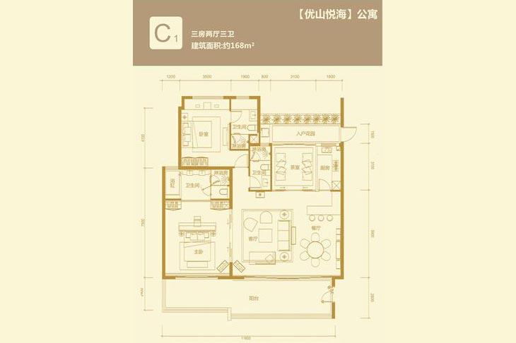 华润石梅湾九里3房2厅3卫 (建筑面积:168.00㎡)