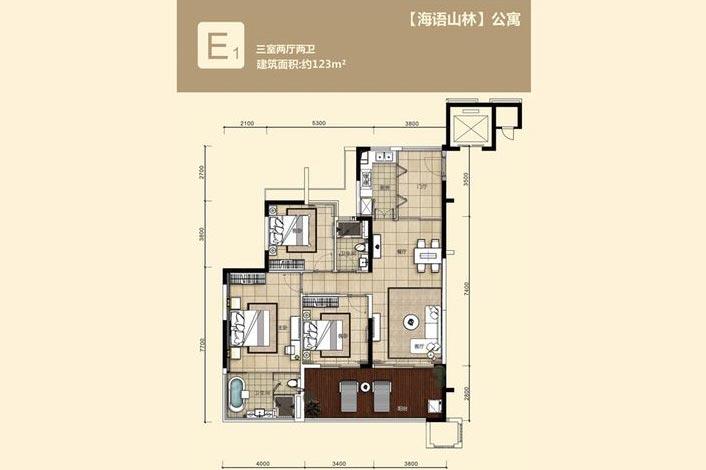 华润石梅湾九里3室2厅2卫 (建筑面积:123.00㎡)