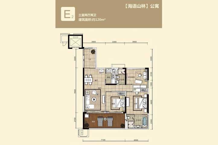华润石梅湾九里3室2厅2卫 (建筑面积:120.00㎡)
