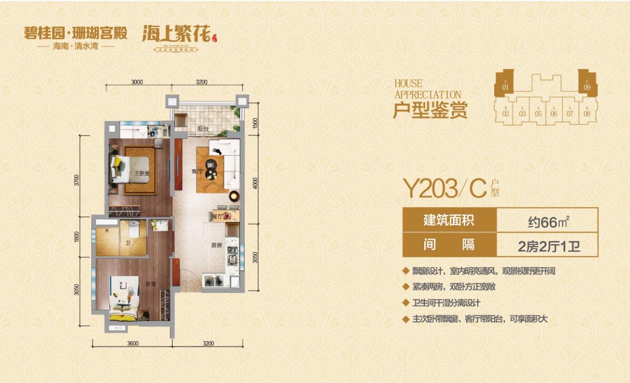 碧桂园珊瑚宫殿2房2厅1卫 (建筑面积:66.00㎡)
