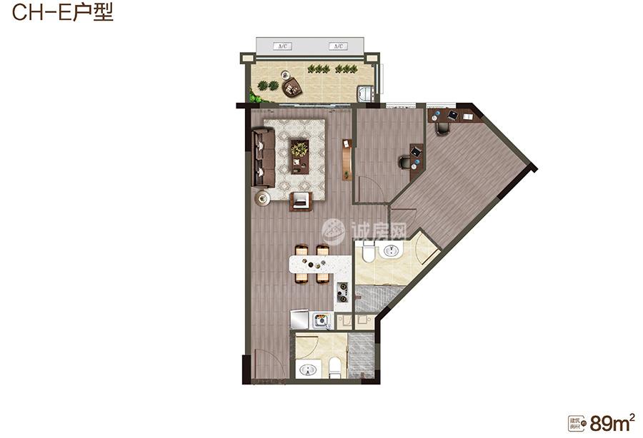 中海神州半岛2房2厅2卫 (建筑面积:89.00㎡)