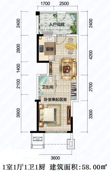 清澜半岛1室1厅1卫1厨 (建筑面积:58.00㎡)
