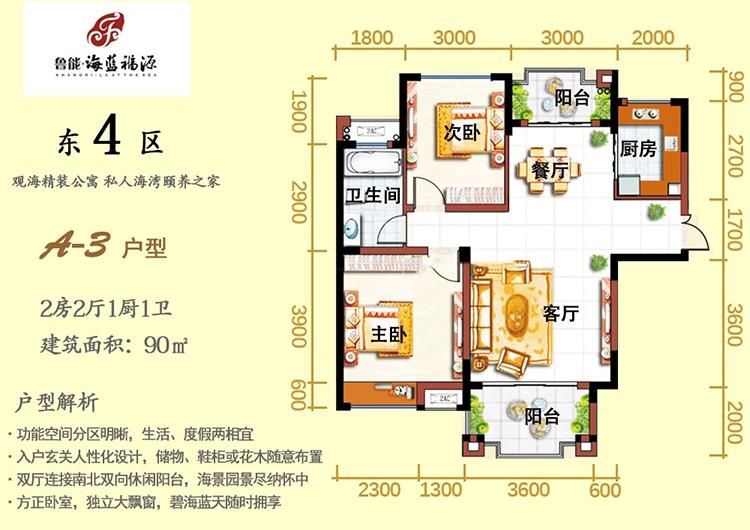 魯能海藍福源2室2廳 (建筑面積:90.00㎡)