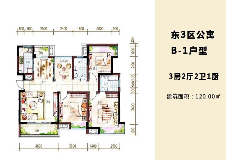 魯能海藍福源3室2廳 (建筑面積:120.00㎡)