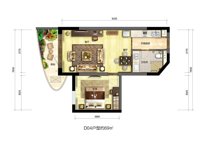 博鳌海御1室2厅1卫1厨