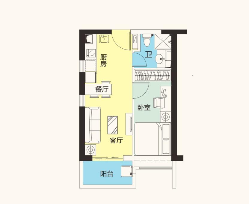 恒大海花岛1房1厅1卫1阳台