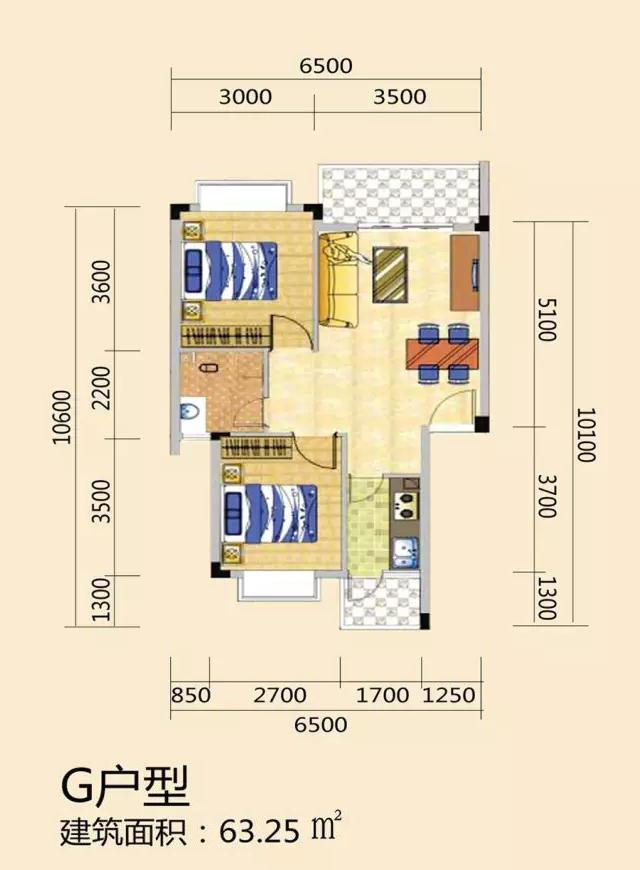 天长椰风水韵两房两厅一厨一卫 (建筑面积:63.25㎡)