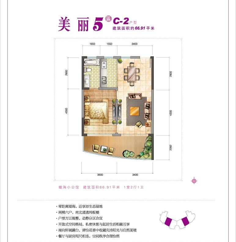 鲁能三亚湾1室2厅1卫1厨 (建筑面积:67.00㎡)