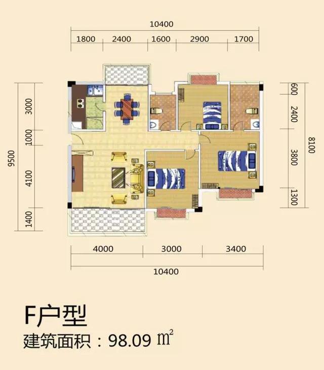 天长椰风水韵三房两厅一厨两卫 (建筑面积:98.09㎡)