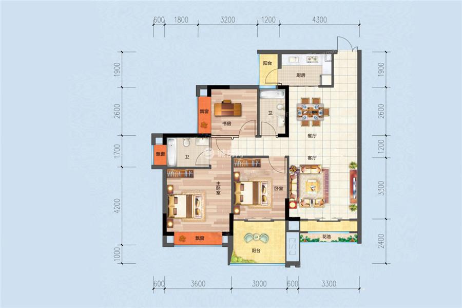 合隆华府3室2厅2卫1厨 (建筑面积:106.00㎡)