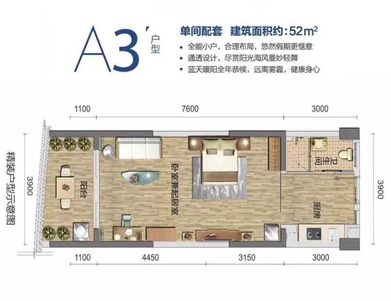 清澜半岛单间 (建筑面积:52.00㎡)