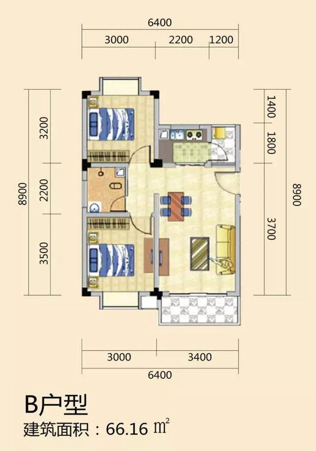 天长椰风水韵两房一厅一厨一卫 (建筑面积:66.16㎡)