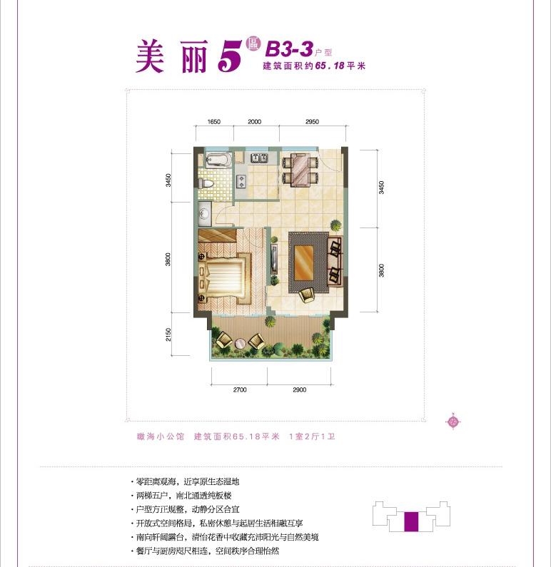 鲁能三亚湾1室2厅1卫1厨 (建筑面积:65.00㎡)
