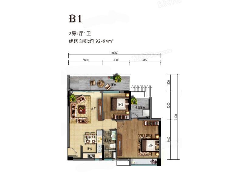 海棠湾8号2室2厅1卫1厨