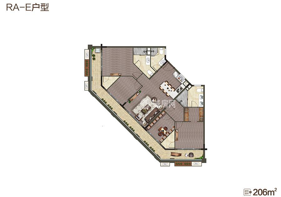 中海神州半岛4房2厅3卫 (建筑面积:206.00㎡)