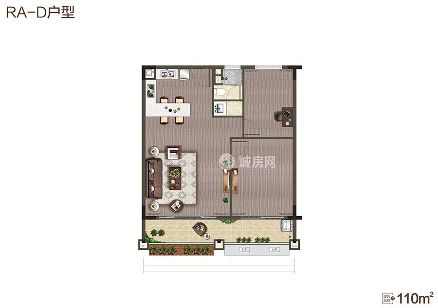 中海神州半岛2房2厅1卫 (建筑面积:110.00㎡)